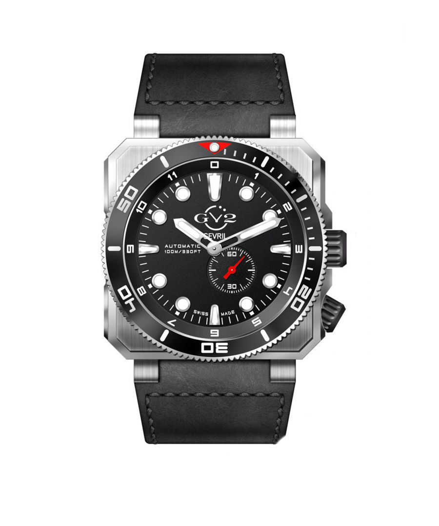 Image for GV2 Automatic Mens XO Submarine Black Dial SS Case Black Calfskin Leather Watch