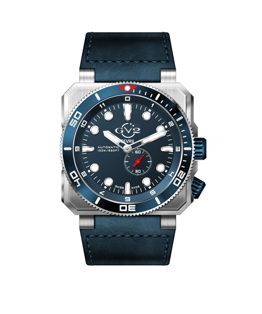 Image for GV2 Automatic Mens XO Submarine Blue Dial SS Case Blue Calfskin Leather Watch