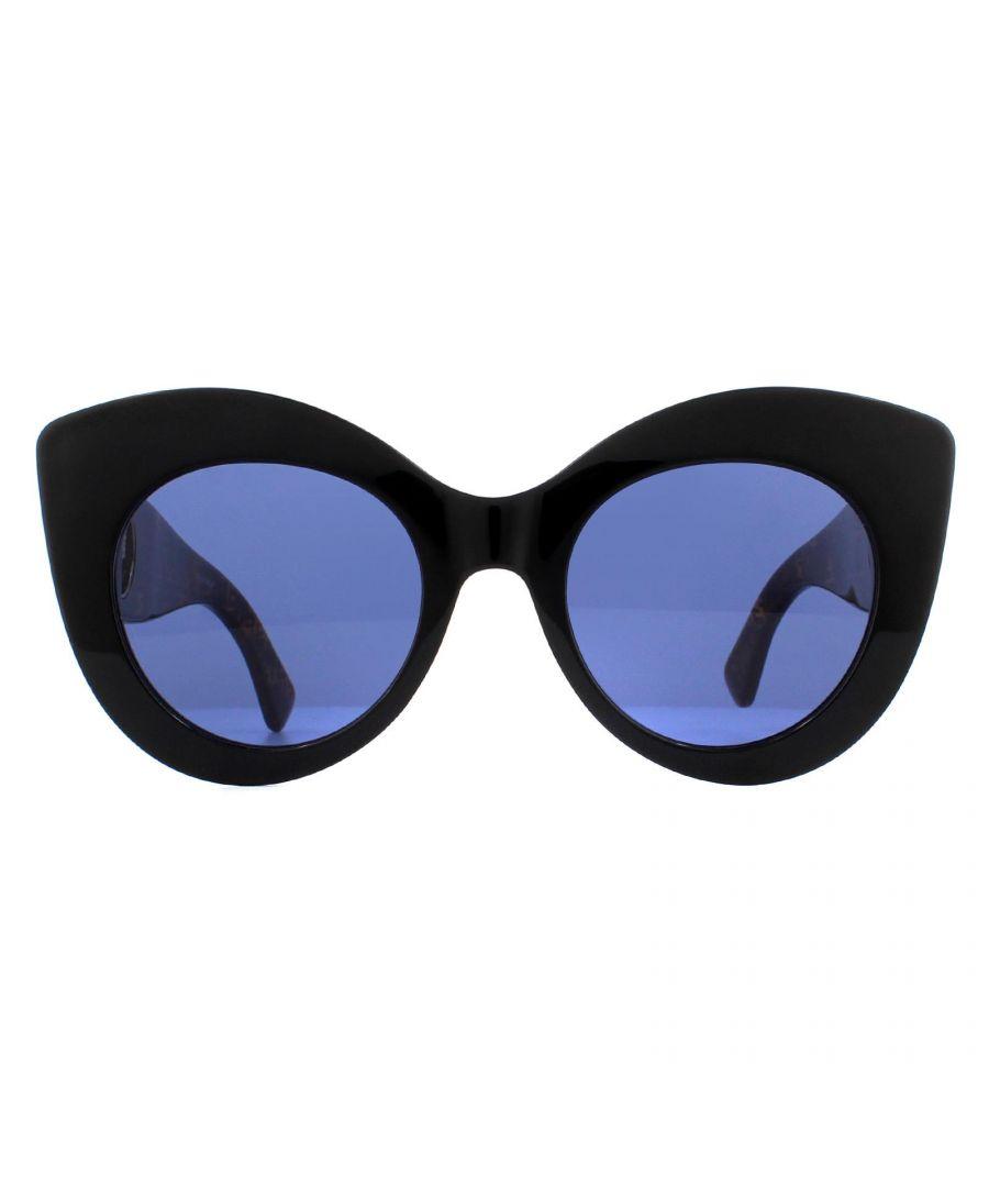 Image for Fendi Sunglasses FF 0306/S WR7 KU Black and Havana with Fendi Signature Pattern Blue