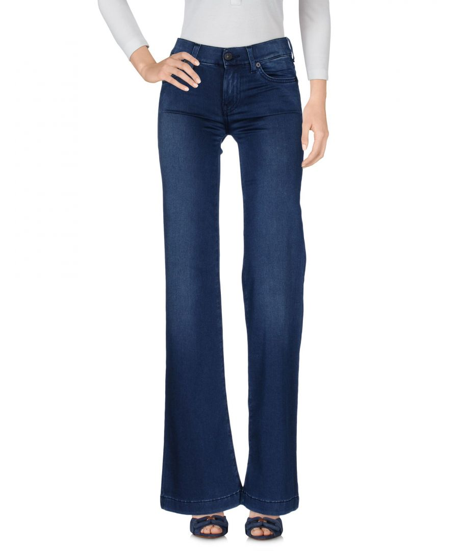 Image for 7 For All Mankind Blue Cotton Flare Wide Leg Jeans
