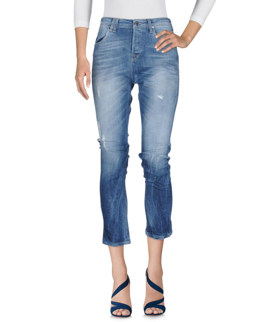 Image for Met Jeans Blue Cotton Straight Leg Cropped Jeans