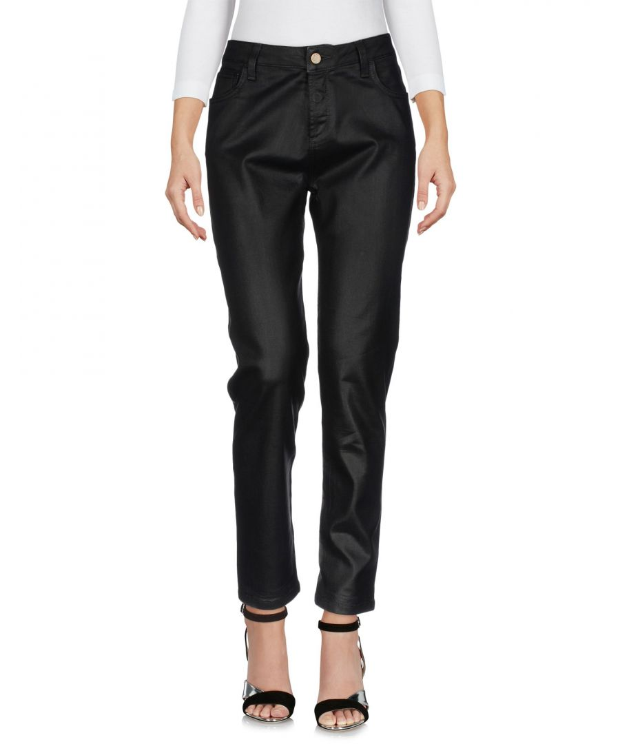 Image for Manila Grace Black Cotton Coated Jeans