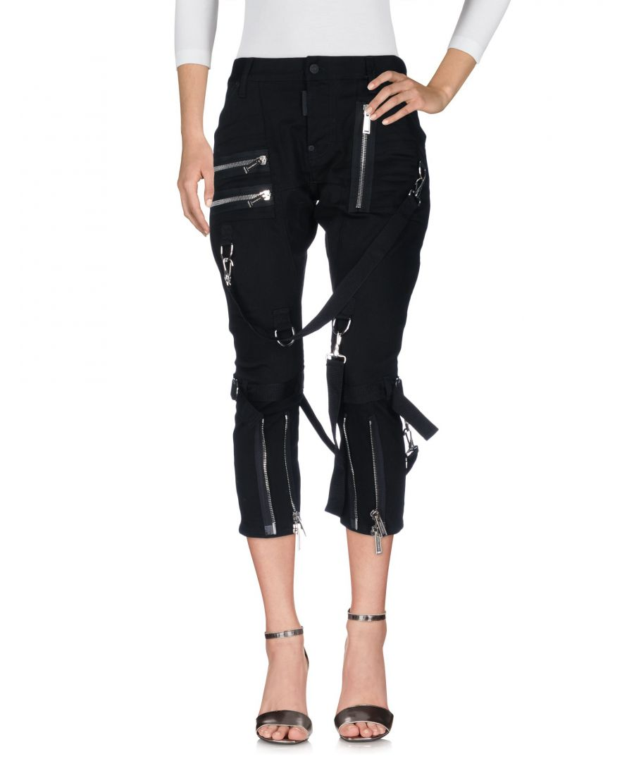 Image for Dsquared2 Black Cotton Strap Detailing Straight Leg Cropped Jeans