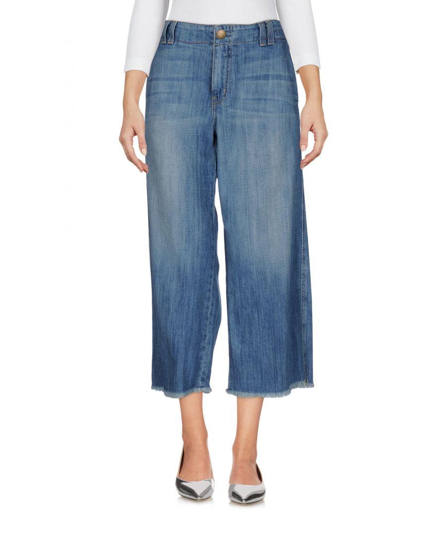 Image for Current/Elliott Blue Cotton Medium Wash Wide Leg Cropped Jeans