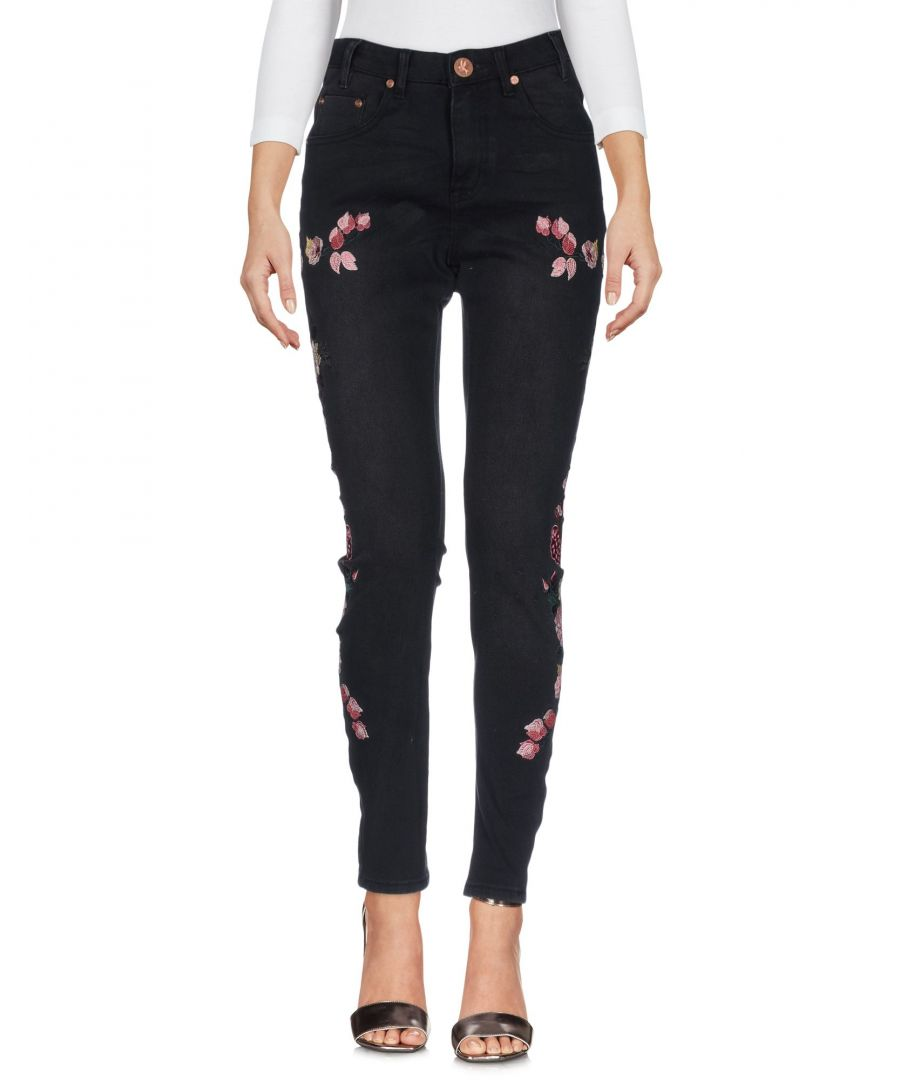 Image for One X Oneteaspoon Black Cotton Embroidered Slim Fit Jeans