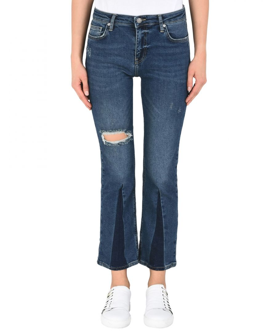 Image for Free People Blue Cotton Cropped Jeans