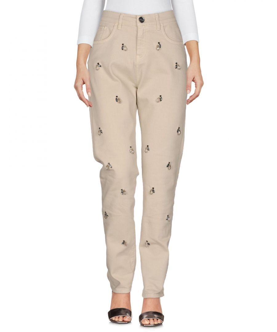 Image for Pinko Beige Cotton Embellished Straight Leg Jeans
