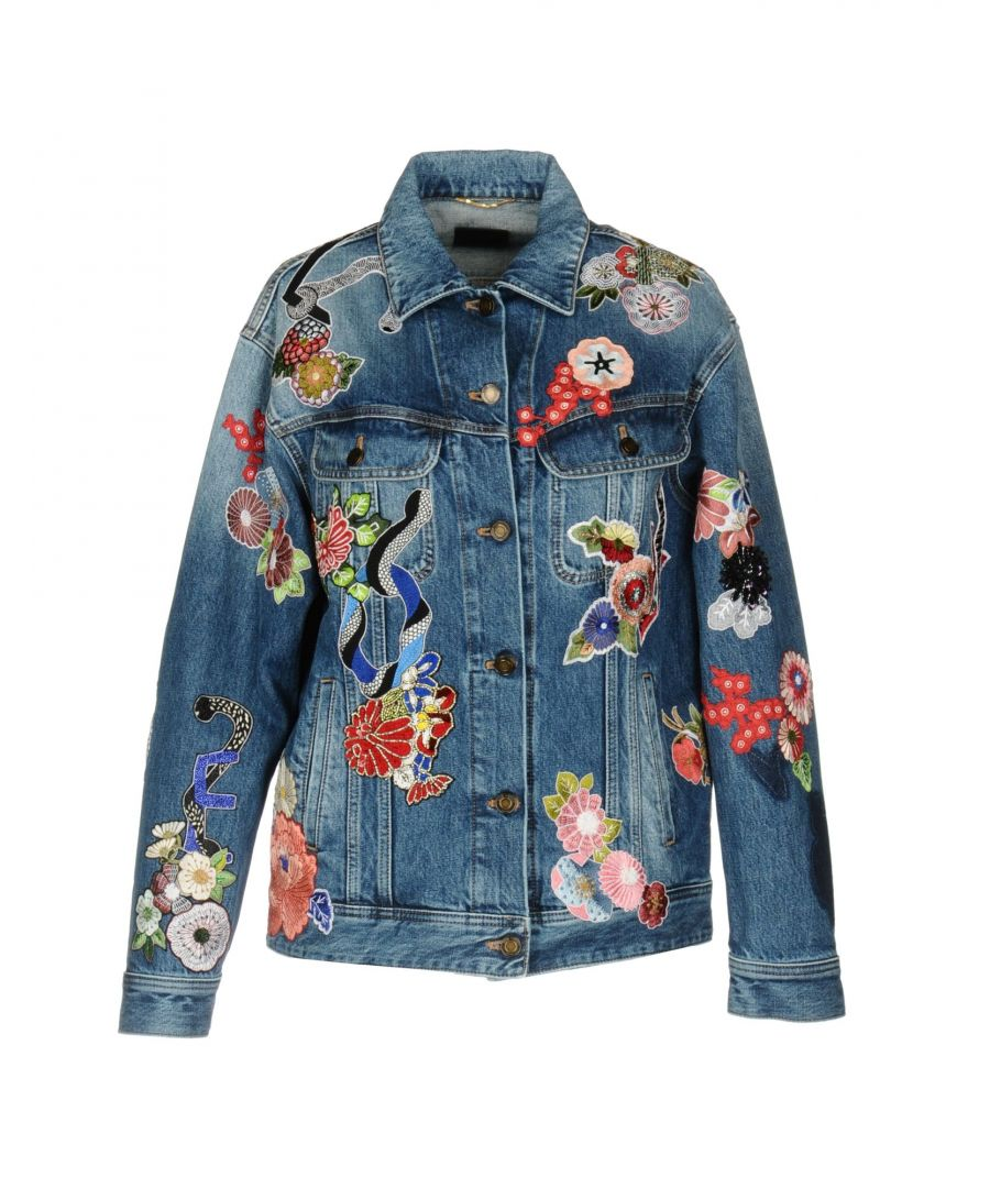 Image for Saint Laurent Blue Embroidered Denim Jacket