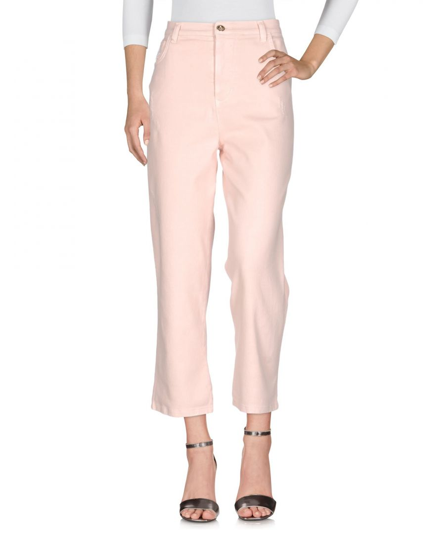 Image for Pf Paola Frani Pink, White Cotton Pantaloni jeans