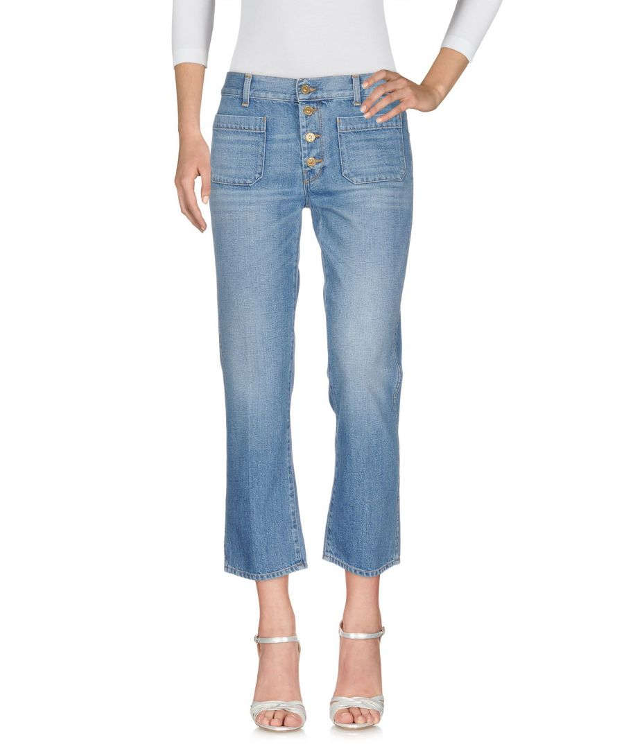 Image for 7 For All Mankind Blue Cotton Straight Leg Cropped Jeans