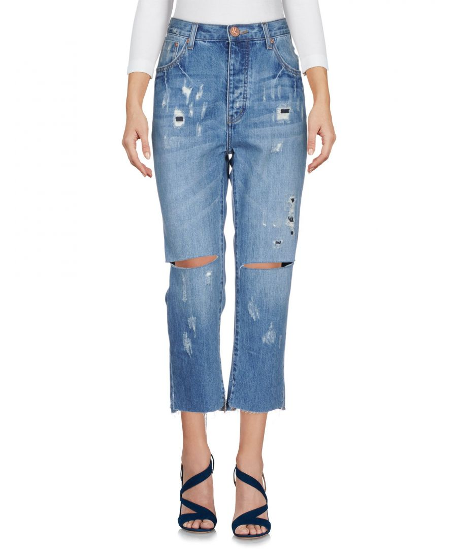 Image for One X Oneteaspoon Blue Cotton Wide Leg Cropped Jeans
