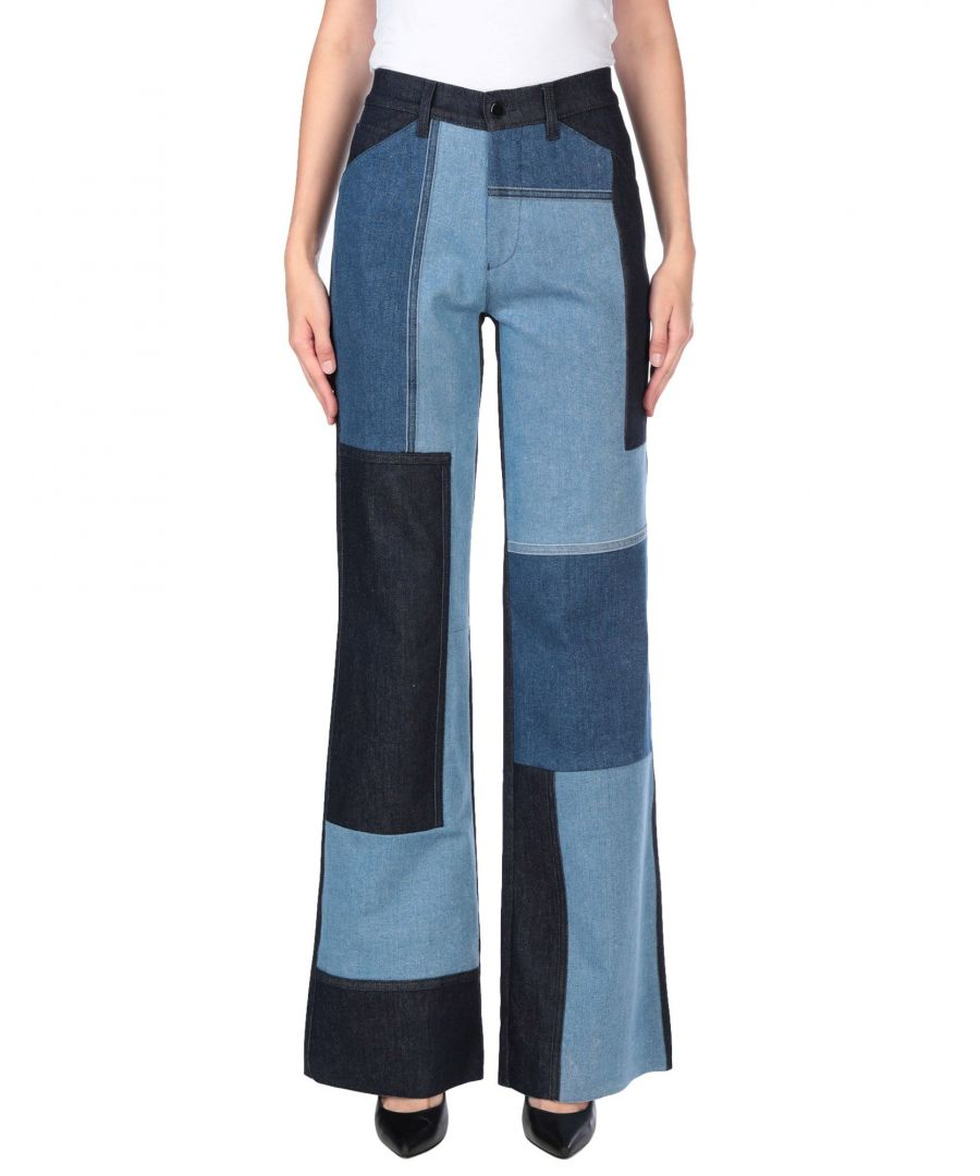 Image for Victoria, Victoria Beckham Blue Cotton Wide Leg Jeans