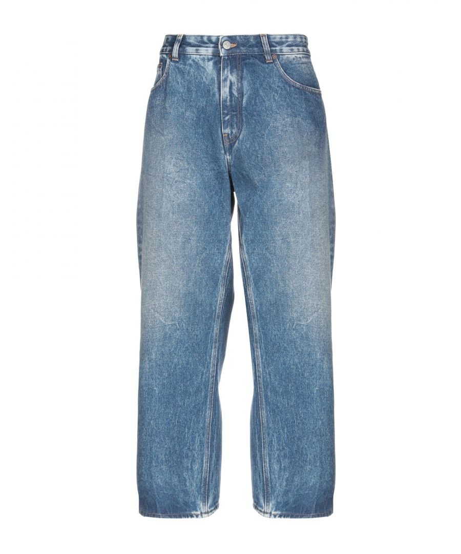 Image for MM6 Maison Margiela Blue Cotton High Waisted Jeans