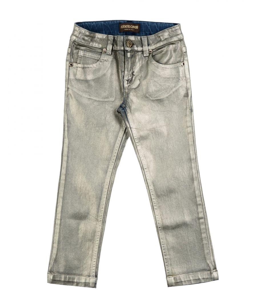 Image for DENIM Girl Roberto Cavalli Junior Platinum Cotton