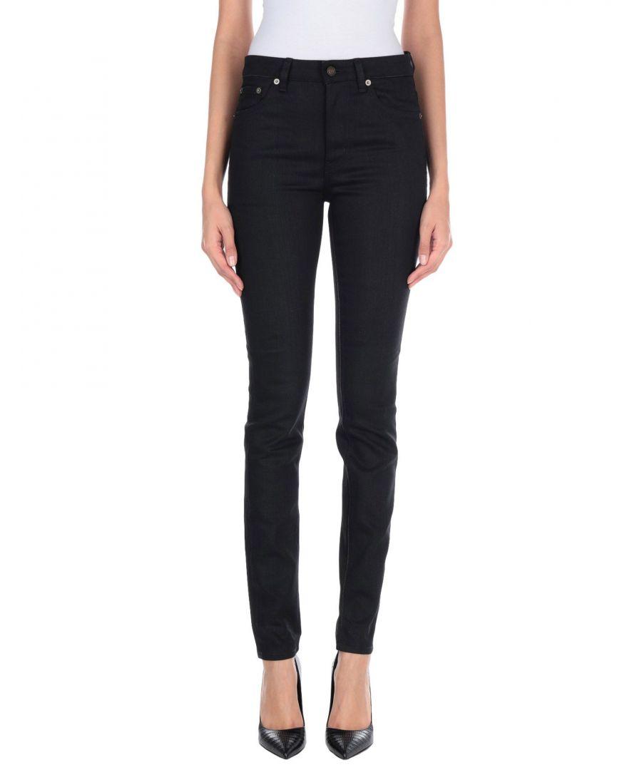 Image for Saint Laurent Black Cotton High Waisted Slim Fit Jeans