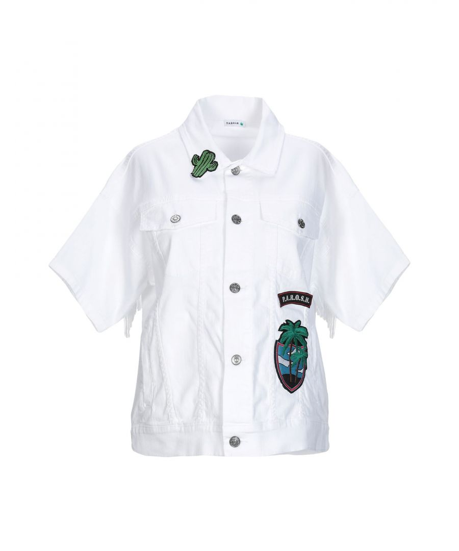 Image for P.A.R.O.S.H. White Short Sleeve Denim Jacket