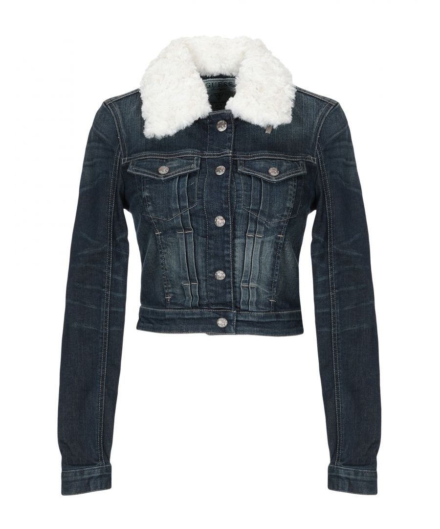 Image for Guess Blue Denim Jacket With Faux Fur Collar