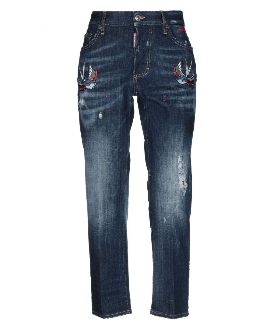 Image for Dsquared2 Blue Cotton Embroidered Slim Fit Jeans