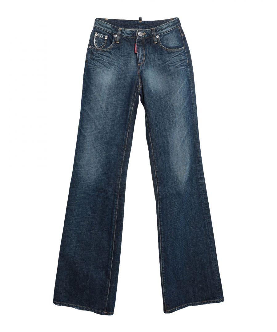 Image for Dsquared2 Blue Cotton Wide Leg Jeans