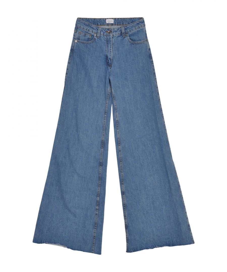Image for Magda Butrym Blue Cotton Wide Leg Jeans