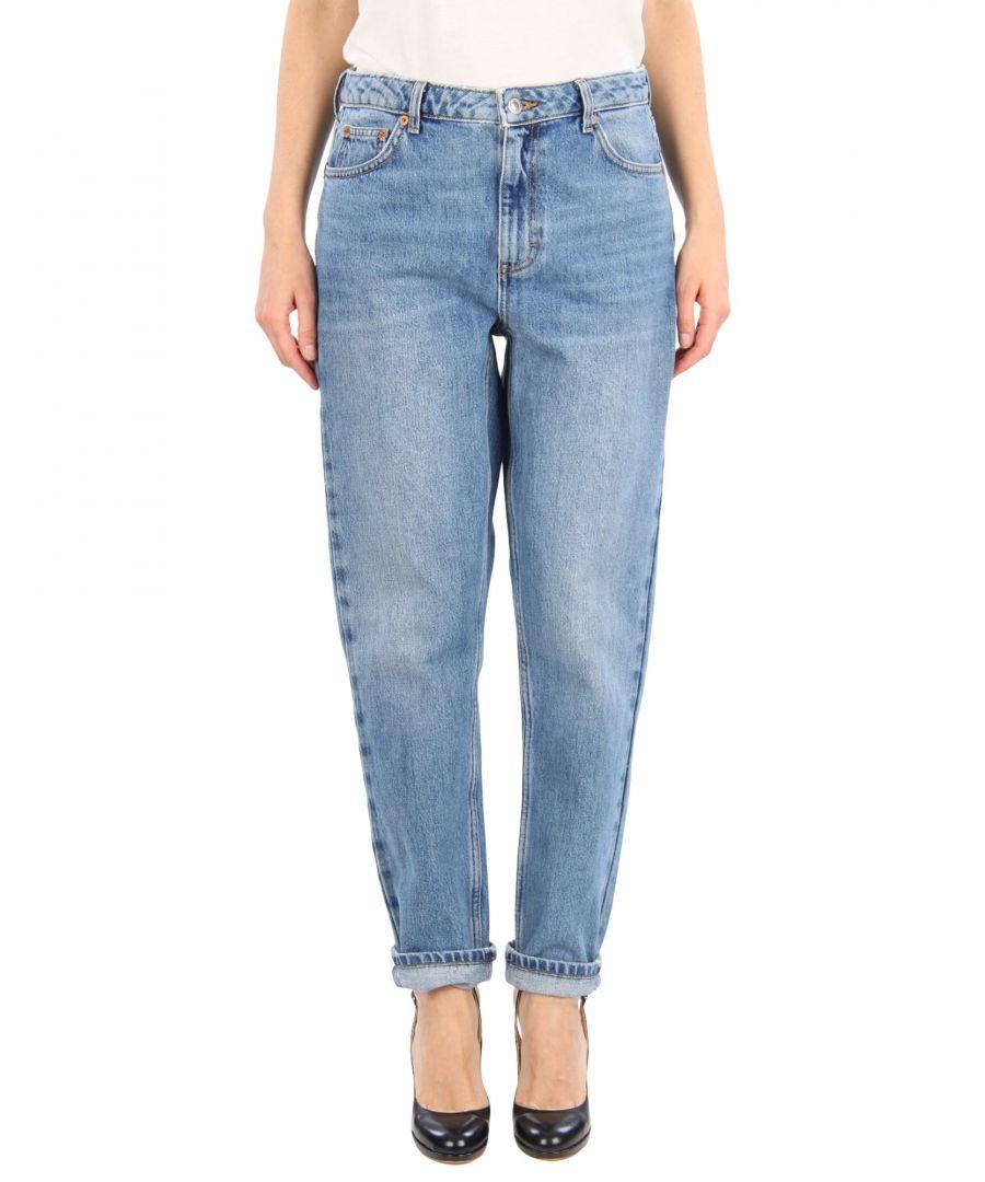 Image for Topshop Blue Cotton Light Wash Jeans