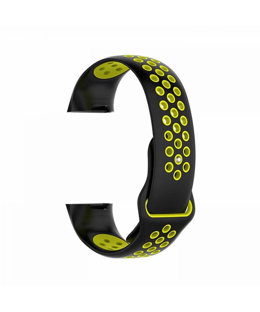 Image for Aquarius Nike Silicone Watch Band for Fitbit Charge 3 Black/Yellow Large