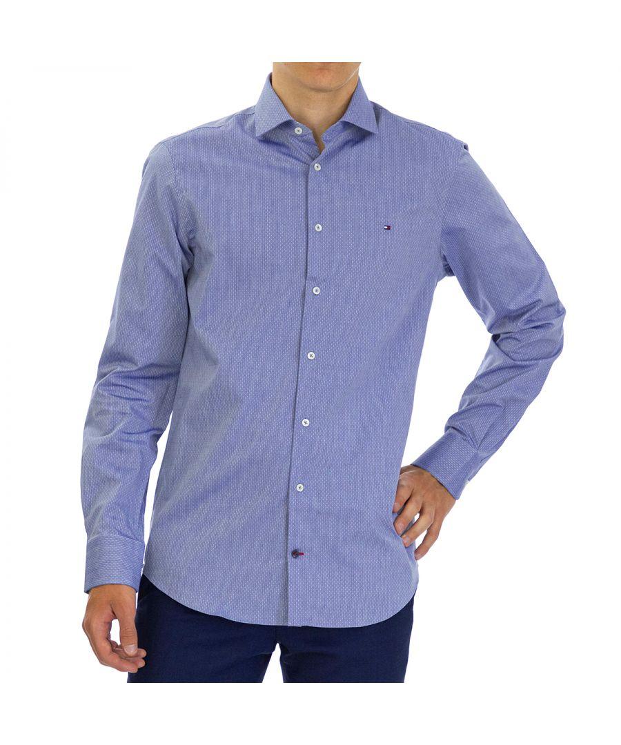 Image for Tommy Hilfiger Men Shirt Dobby Slim Fit  Full sleeve Blue