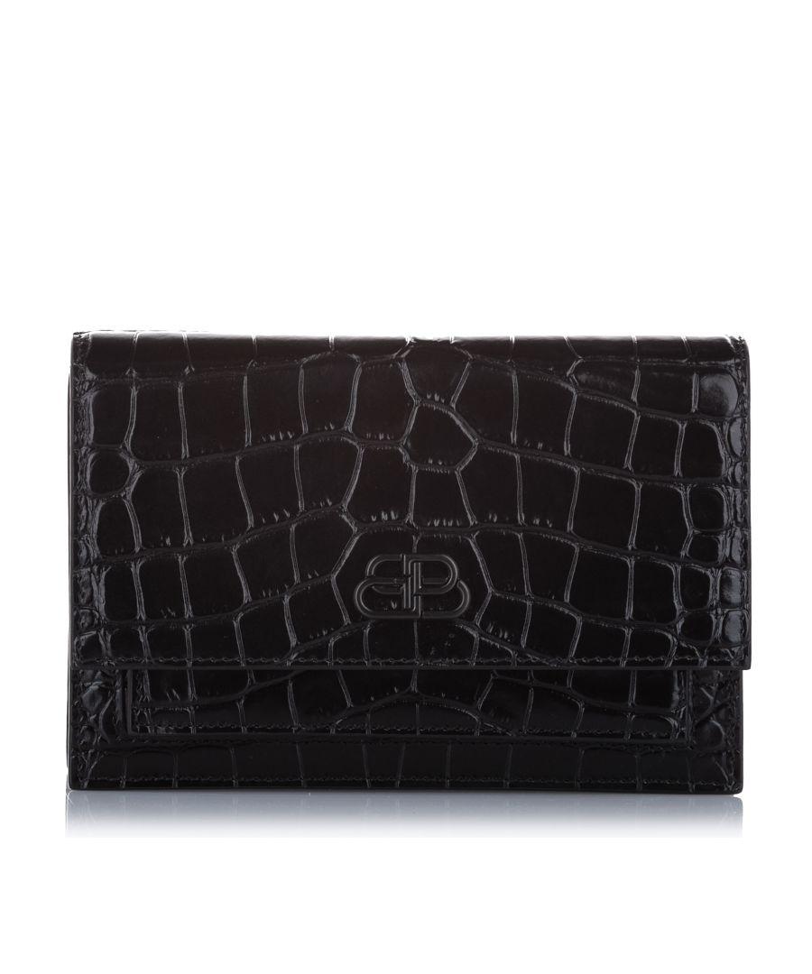 Image for Vintage Balenciaga Croc Embossed Sharp Leather Shoulder Bag Black