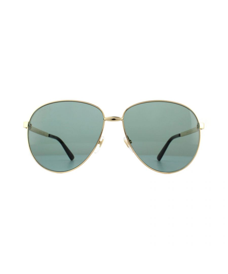 Image for Gucci Sunglasses GG0138S 001 Gold Green Blue