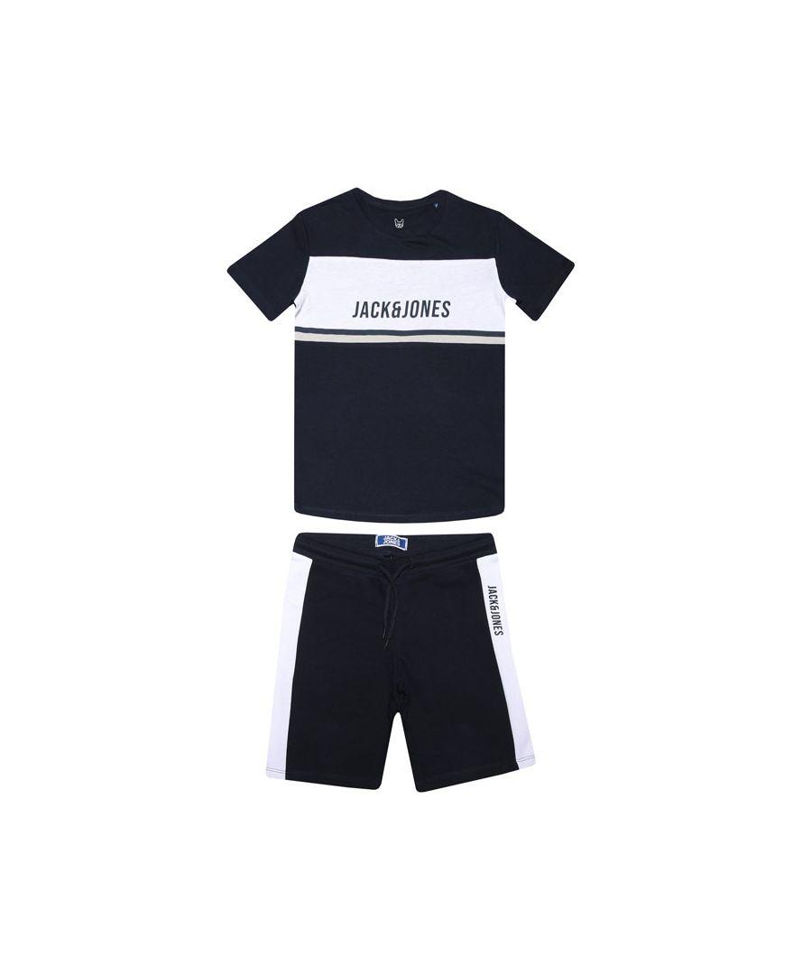 Image for Boys Jack Jones Junior Block T-Shirt & Short Set In Navy