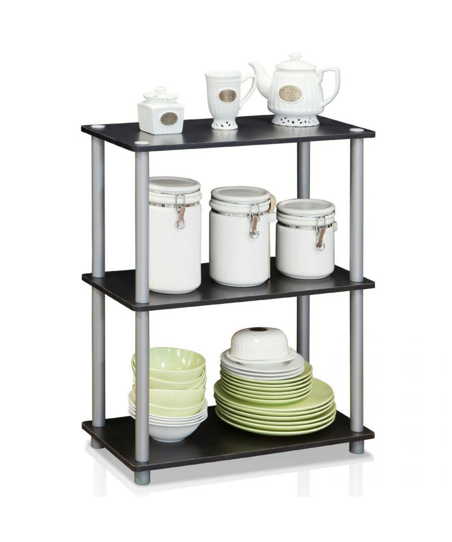 Image for Furinno Turn-N-Tube 3-Tier Compact Multipurpose Shelf Display Rack - Black with Grey Tubes