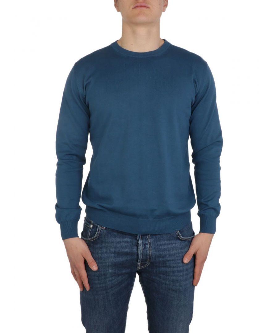 Image for ALTEA MEN'S 20510183 BLUE COTTON SWEATER