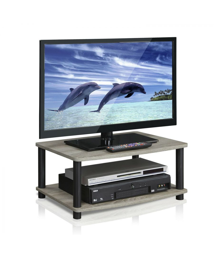 Image for Furinno 13191GYW/BK Turn-N-Tube No Tools 2-Tier Elevated TV Stands, Oak Grey/Black