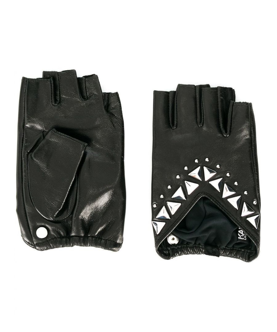 Image for KARL LAGERFELD WOMEN'S 20KW201W3606BLACK BLACK FAUX LEATHER GLOVES