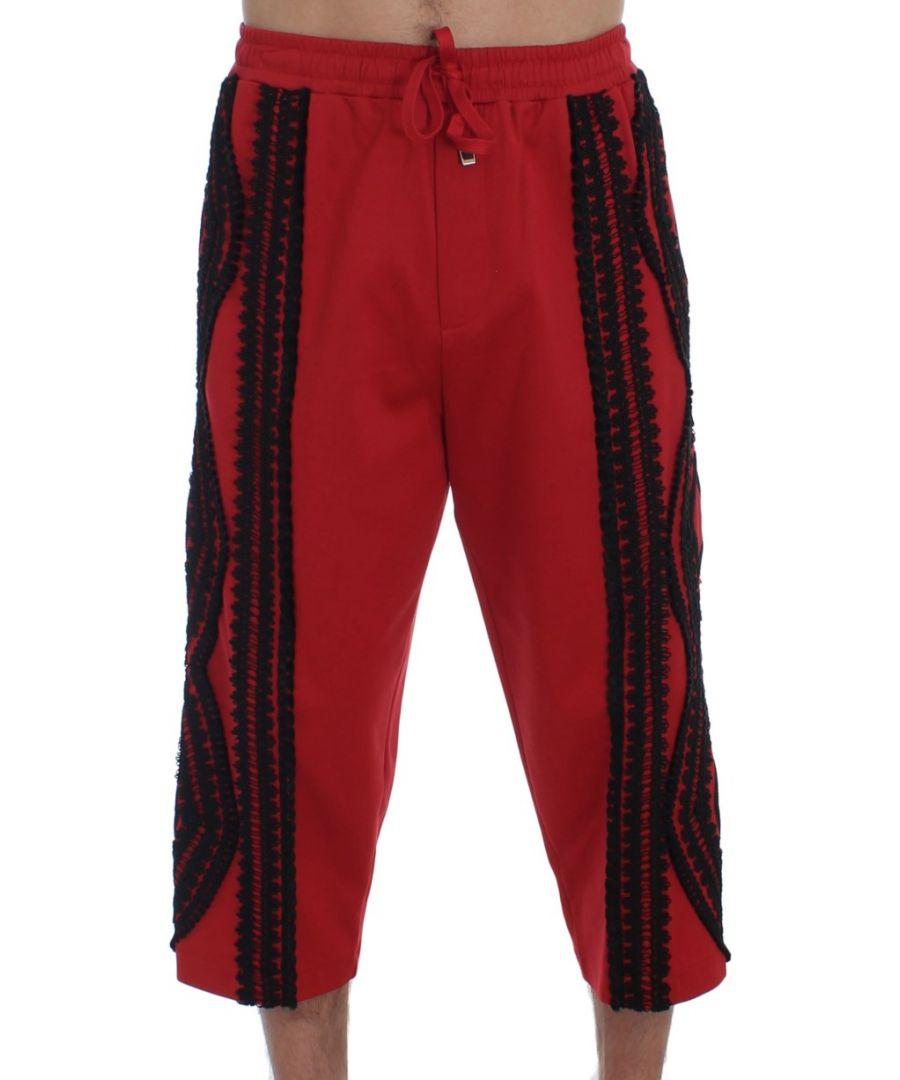 Image for Dolce & Gabbana Red Black Torero 3/4 Pants Shorts