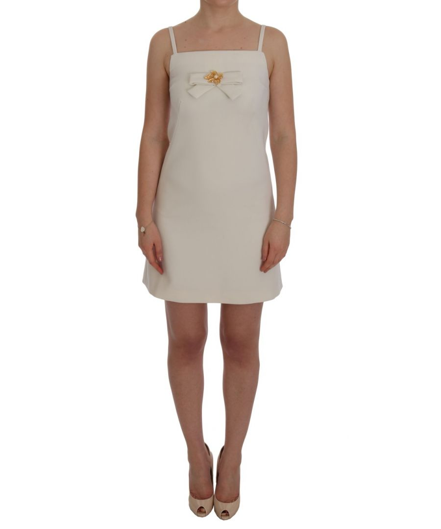 Image for Dolce & Gabbana White Wool Stretch Brooch Shift Dress