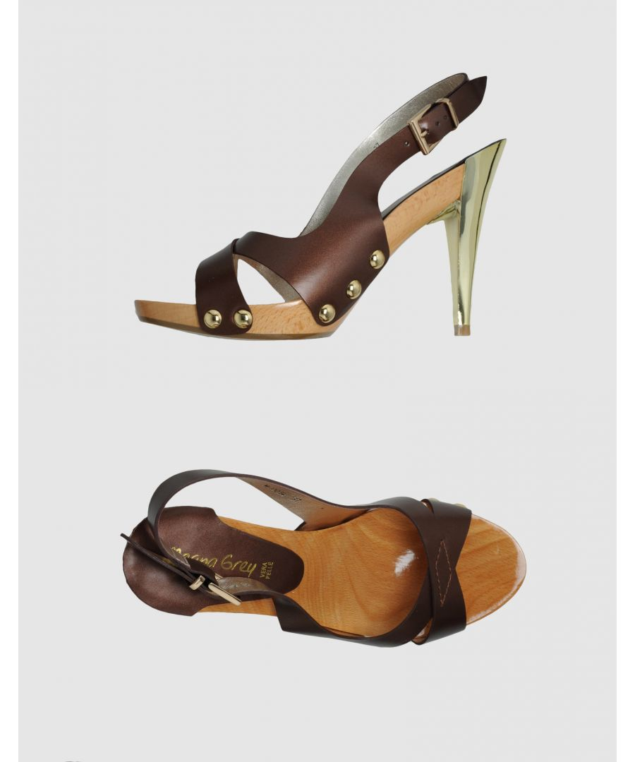Image for Marina Grey Dark Brown Leather Heels