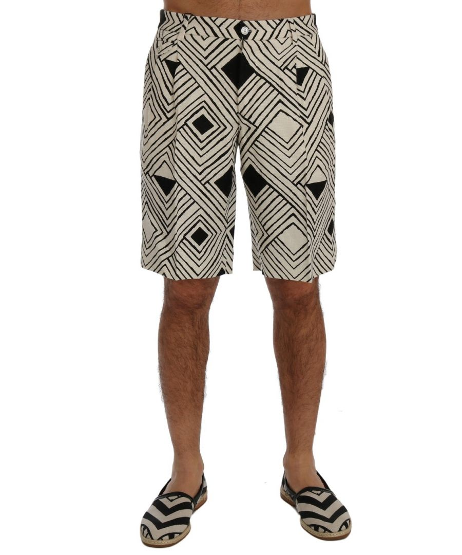 Image for Dolce & Gabbana White Black Striped Casual Shorts