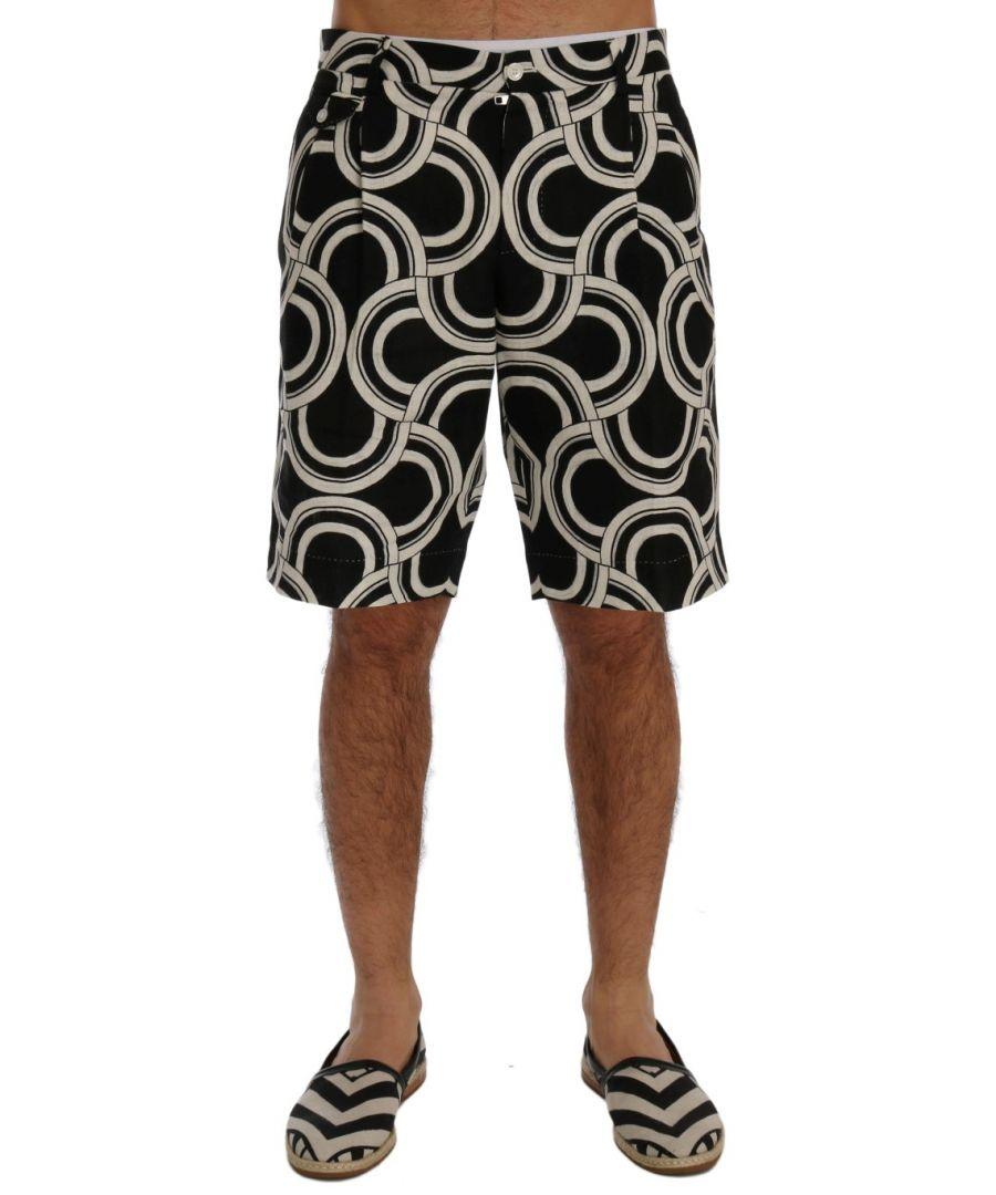 Image for Dolce & Gabbana Black White Pattern Linen Shorts