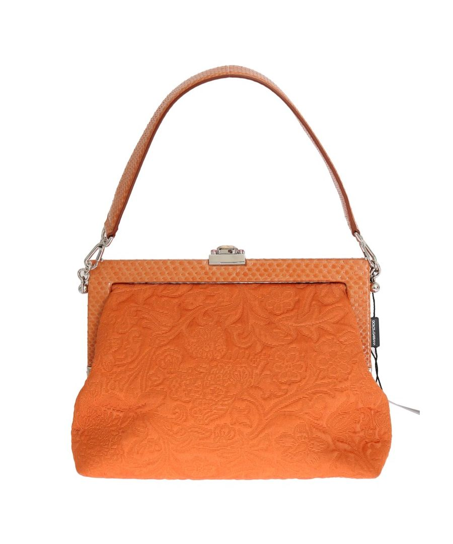 Image for Dolce & Gabbana Orange VANDA Schlangenleder Brokat Kristall Tasche