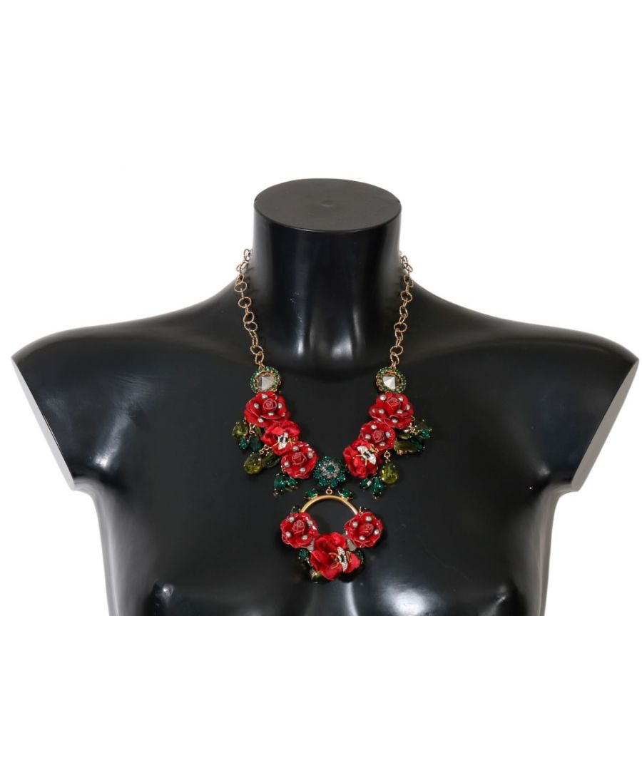 Image for Dolce & Gabbana Gold Brass Roses Floral Crystal Necklace