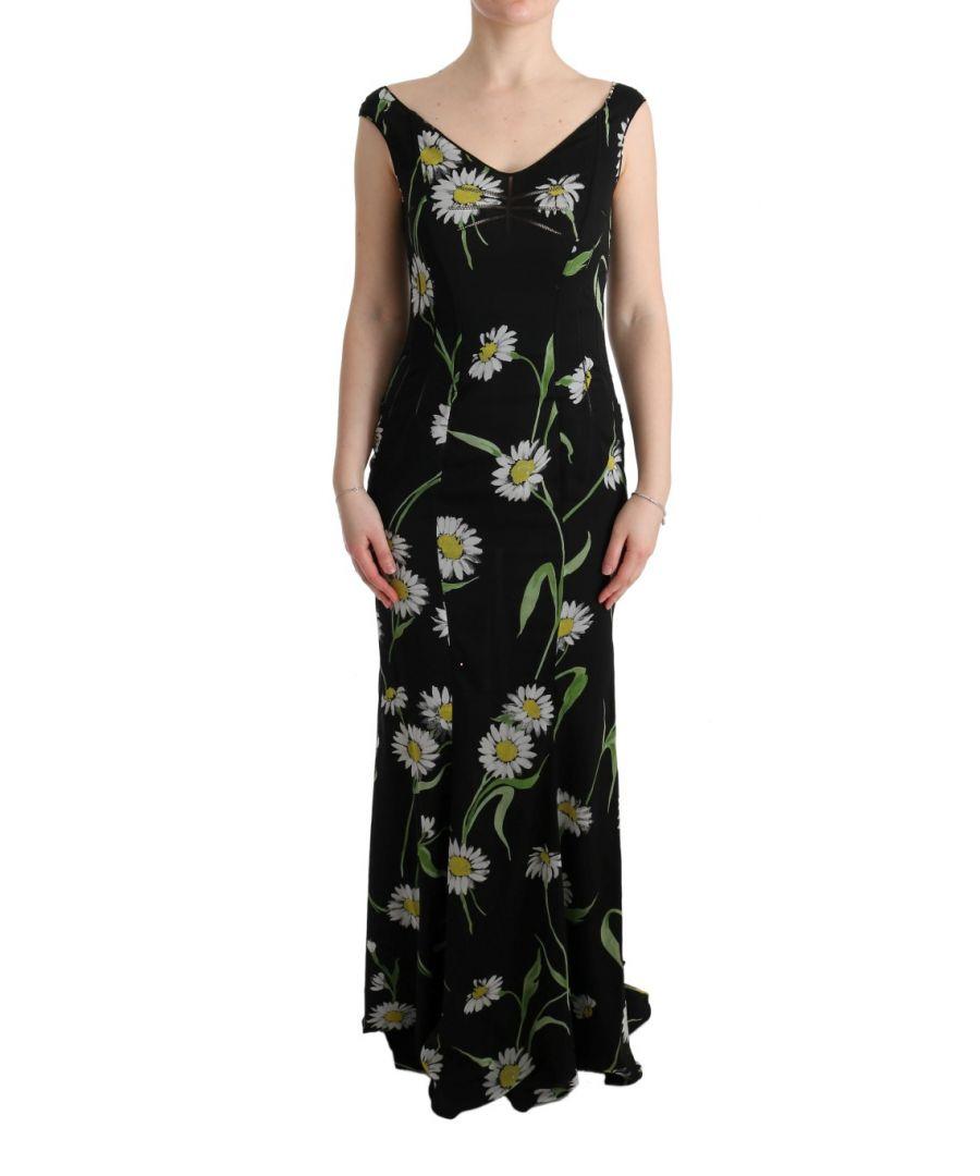 Image for Dolce & Gabbana Sunflower Silk Stretch Sheath Dress