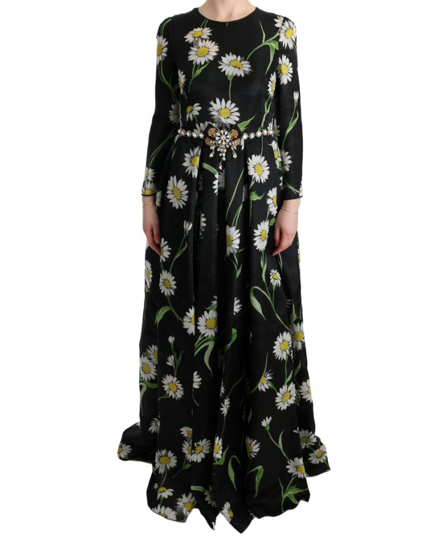 Image for Dolce & Gabbana Multicolor Silk Sunflower Print Long Maxi Dress