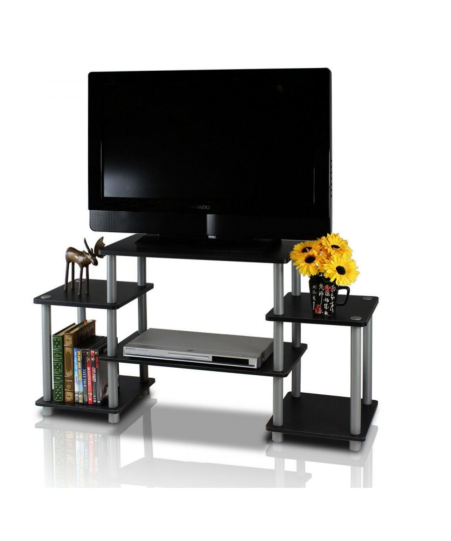 Image for Furinno Turn-N-Tube No Tools Entertainment Center - Black/Grey