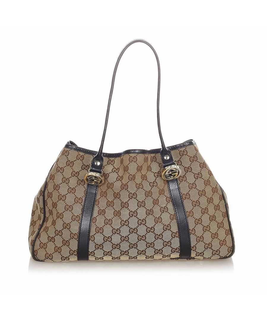 Image for Vintage Gucci GG Canvas Twins Tote Bag Brown