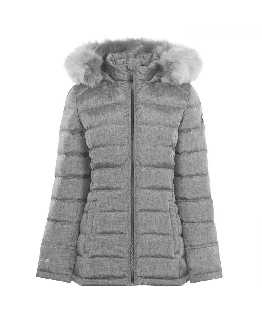 Image for Karrimor Hood Down Jacket Ladies Faux Fur Padded Full Zip Winter Top