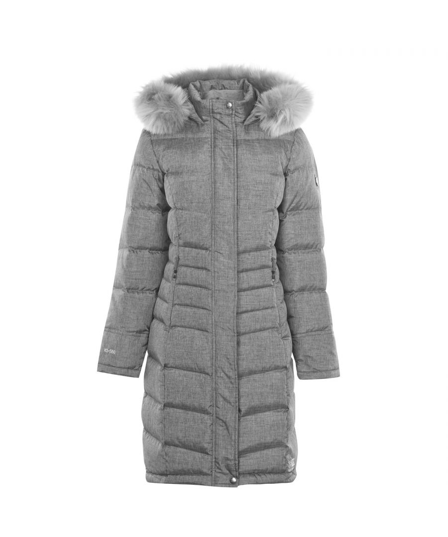Image for Karrimor Womens Long Down Jacket Outerwear Full Zip Faux Fur Hooded Puffer Top