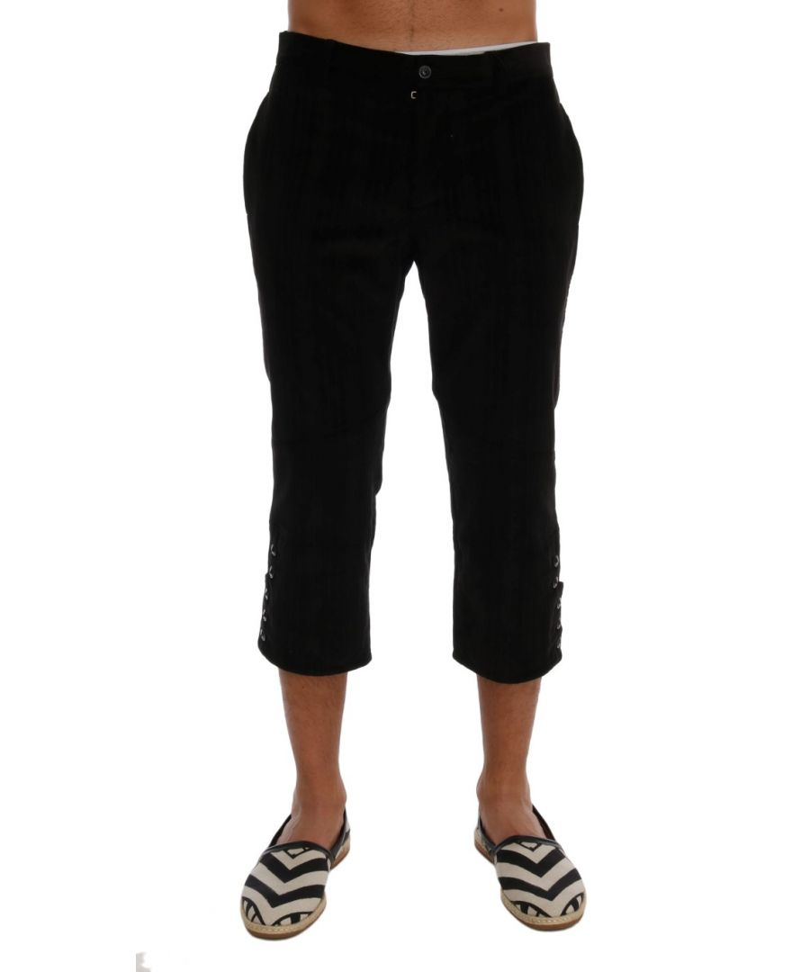 Image for Dolce & Gabbana Black Cotton Striped Cropped Pants
