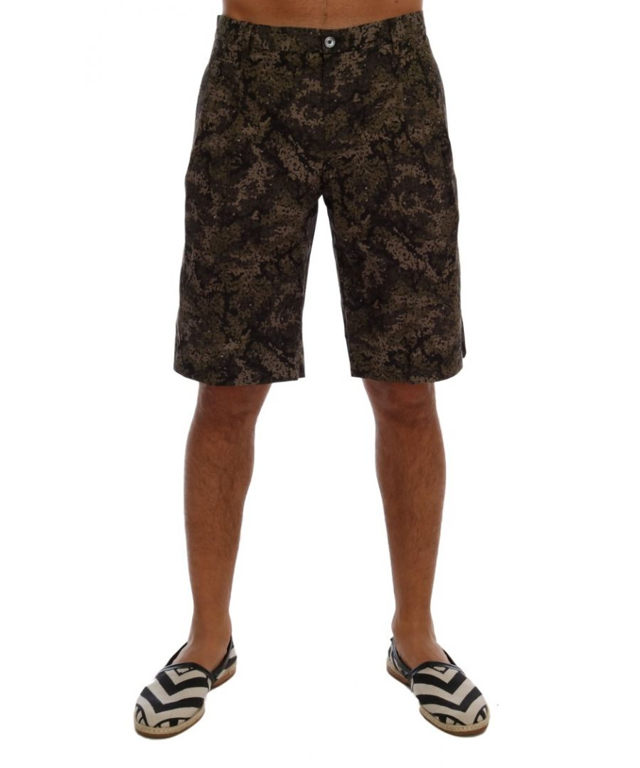 Image for Dolce & Gabbana Black Green Cotton Military Pattern Shorts