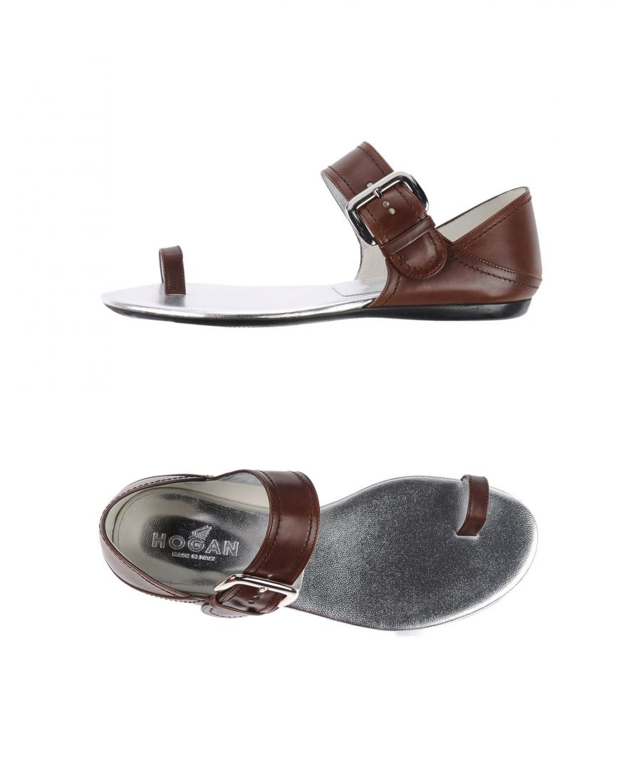 Image for Hogan Dark Brown Leather Sandals
